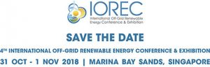 International Off-Grid Renewable Energy Conference & Exhibition 2018 @ Marina Bay Sands, Singapour